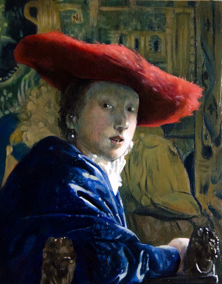 dan green copy of vermeer girl with red hat