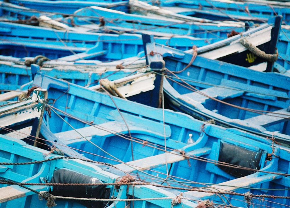val carcary green blue boats essaouira port