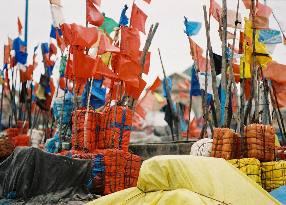 val carcary green multi coloured flags in port of essaouira