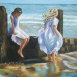 novus art studio christine ware two girls at beach