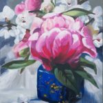 novus art studio judi beggs pink flowers blue jar