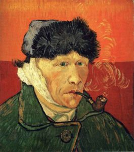 van Gogh with pipe and bandaged ear
